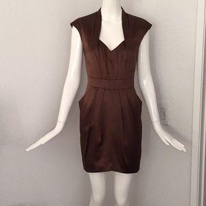 Walter baker brown silk satin dress